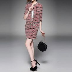 Alaroo - Set: Check 3/4-Sleeve Jacket + Pencil Skirt