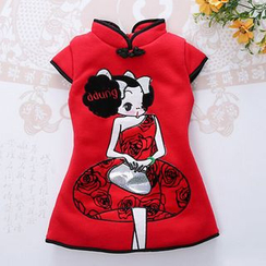 Bean Bean - Kids Short-Sleeve Cartoon Cheongsam