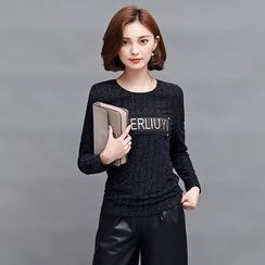 AiSun - Letter Applique Long Sleeve Top