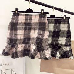 DIYI - Plaid Miniskirt