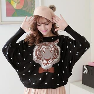 JK2 - Dolman-Sleeve Tiger-Print Dotted Sweater