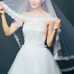 Sky n Sea - Lace Panel Long Wedding Veil