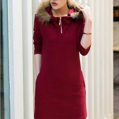 Sienne - Furry Hooded Long-Sleeve Dress