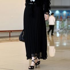 59th Street - Drawstring-Waist Pleated Maxi Skirt