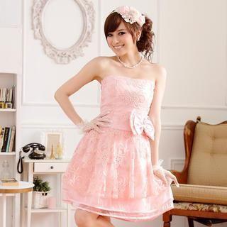 JK2 - Strapless Bow-Accent A-Line Party Dress
