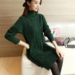Ekim - Long-Sleeve High Neck Knit Dress