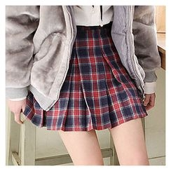 Sechuna - A-Line Check-Pattern Miniskirt