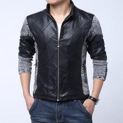 Bay Go Mall - Faux-Leather Panel Biker Jacket