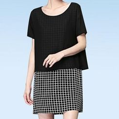 Mythmax - Mock Two Piece Short-Sleeve Check Dress