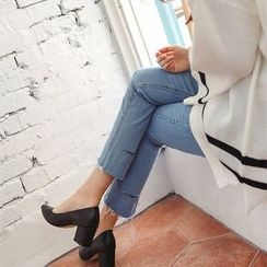 Seoul Fashion - Fray-Hem Straight-Cut Jeans