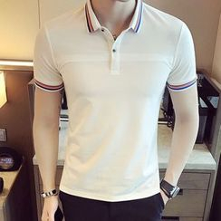LIBIN - 条纹短袖马球衫