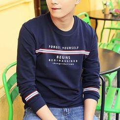 HANDA - Letter Stripe Sweatshirt