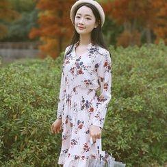 sansweet - Long-Sleeve Floral Ruffle Trim Chiffon Dress