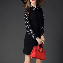 Mythmax - Long-Sleeve Dotted-Panel Dress