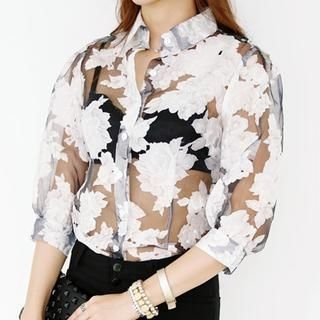 WHITE FOX - Floral Print Sheer Blouse