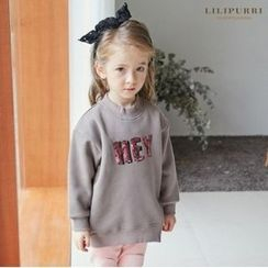 LILIPURRI - Girls Lettering-Sequined Brushed-Fleece Lined Sweatshirt