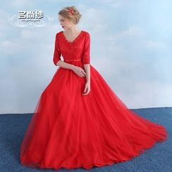 MSSBridal - 3/4-Sleeve Lace Evening Gown