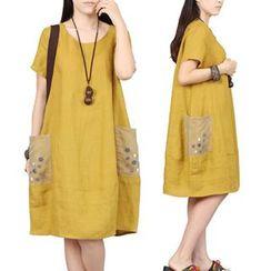 chic n' fab - Button Detail Short-Sleeve Dress