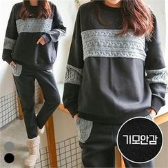 PINKSISLY - Set: Brushed Fleece Lined Sweatshirt + Knit Trim Sweatpants