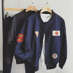 ZZP HOMME - Striped Badge Detail Baseball Jacket