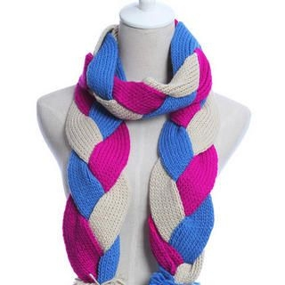 Ando Store - Braided Pompom-Accent Knit Scarf