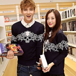 Lovebirds - Couple Skull-Print Sweater