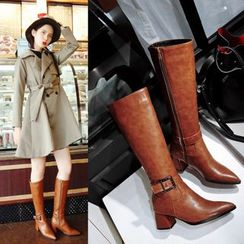 Kireina - Chunky-Heel Buckle Zip-Side Long Boots