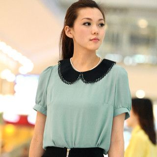 59 Seconds - Peter-Pan Collar Chiffon Top