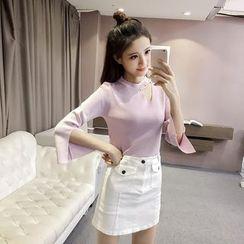 OYANA - Faux Pearl Cutout Knit Top