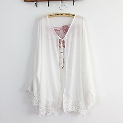 Sunset Hours - Lace Trim Embroidered Open Front Cover-Up