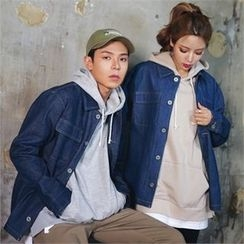 Superstar.i - Couple Dual-Pocket Stitched Denim Jacket
