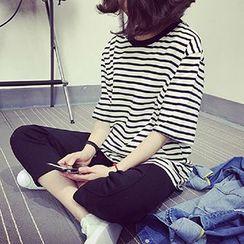 Rocho - Stripe Oversized Short-Sleeve T-Shirt