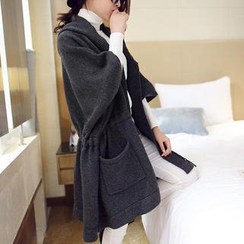 anzoveve - Drawstring Hood Long Knit Jacket