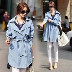 Jcstyle - Denim Trench Coat with Sash