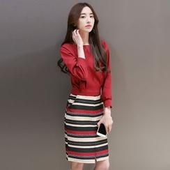 Enjoi - Set: Plain Long-Sleeve Top + Stripe Pencil Skirt