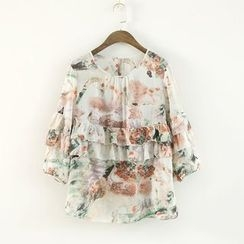 Ranche - 3/4-Sleeve Ruffle Floral Top