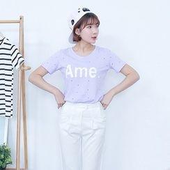 YOZI - Short-Sleeve Perforated Lettering T-Shirt