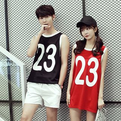 TOOI - Couple Matching Numbering Tipped Tank Top