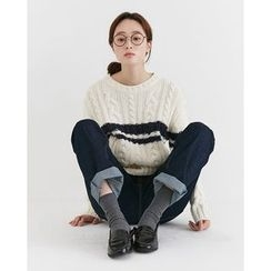 Someday, if - Contrast-Trim Wool Blend Cable-Knit Top