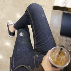 Envy Look - Cutout-Hem Distressed Skinny Jeans