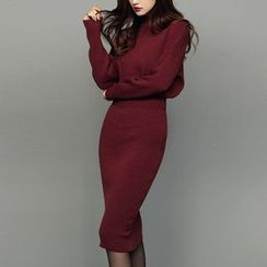 Dimanche - Mock Neck Sheath Knit Dress