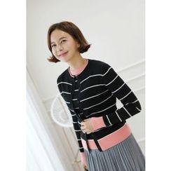 Lemite - Set: Contrast-Trim Stripe Cardigan + Knit Top