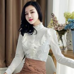 KOKA - Stand Collar Ruffle Shirt