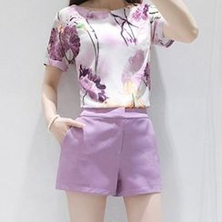 Ashlee - Set: Floral Print Short Sleeve Top + Shorts