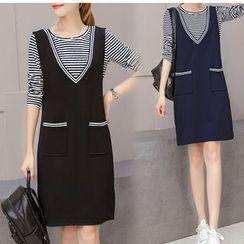Lavogo - Set: Striped Long-Sleeve T-Shirt + V-Neck Pinafore Dress
