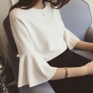 AININI - Pearl-Detail Elbow Sleeve Blouse