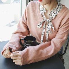 mimi&didi - V-Neck Loose-Fit Knit Top