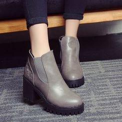 Sleeko - Chunky-Heel Woven Ankle Boots