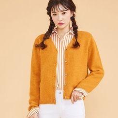 chuu - Wool Blend Furry-Knit Cardigan