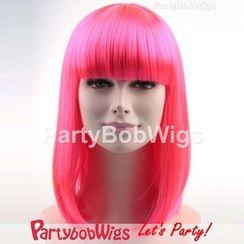 Party Wigs - PartyBobWigs - 派对BOB款中长假发 - 萤光粉红色